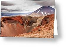 Active Volcanoe Cone Of Mt Ngauruhoe New Zealand Greeting Card