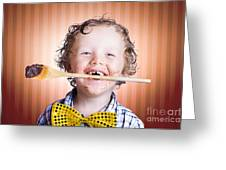 Adorable Little Boy Cooking Chocolate Easter Cake Greeting Card