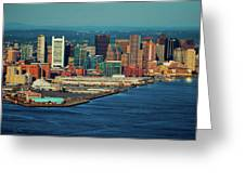 Aerial Morning View Of Boston Skyline Greeting Card