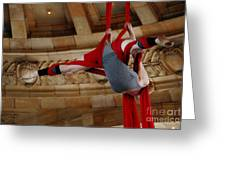 Aerial Ribbon Performer At Pennsylvanian Grand Rotunda Greeting Card