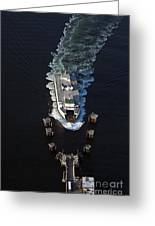 Aerial View Of Passenger Ferry Boat Going To Southworth Puget So Greeting Card