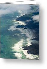 Aerial View Of Tasman Sea Shore Nz North Island Greeting Card