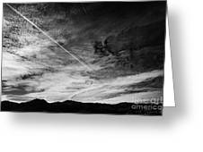 Aircraft Contrail With Shadow On Lower Cloud Nevada Usa Greeting Card
