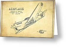 Airplane Patent Drawing From 1943-vintage Greeting Card