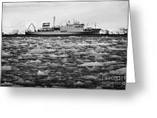 Akademik Sergey Vavilov Russian Research Ship In Port Lockroy As Brash Sea Ice Forming Winter Closin Greeting Card