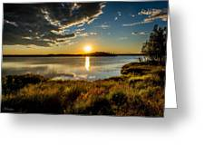Alaskan Midnight Sun Over The Lake Greeting Card