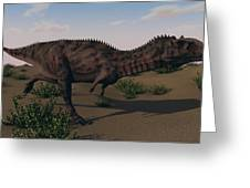Alluring Majungasaurus In Swamp Greeting Card