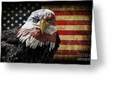 American Bald Eagle On Grunge Flag Greeting Card