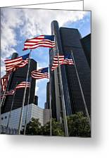 American Flags In Front Of The Detroit Renaissance Center Greeting Card