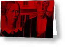 American Gothic In Red Greeting Card