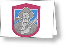 American Patriot With Flintlock Shield Retro Greeting Card