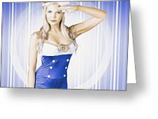 American Pinup Poster Girl In Military Uniform Greeting Card