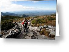 An Athletic Female Hiker Hikes Greeting Card