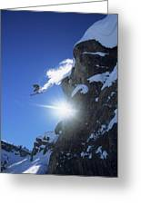 An Extreme Skier Jumps Off A Snowy Greeting Card