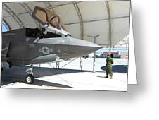 An F-35b Lightning II During Preflight Greeting Card