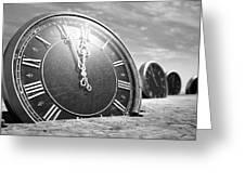 Antique Clocks In The Desert Sand Greeting Card