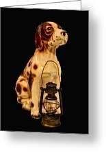 Antique Dog W Lantern Greeting Card