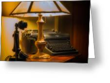Antique Lamp Typewriter And Phone Greeting Card