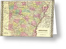 Antique Map Of Arkansas 1855 Greeting Card