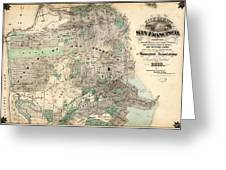 Antique Map Of City And County Of San Francisco Greeting Card