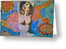 Aphrodite And Ancient Cyprus Map Greeting Card