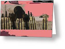 Art Homage Andrew Wyeth Bucket Fence Collage Near Aberdeen South Dakota 1965-2012 Greeting Card