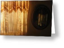 Art Homage Edward Hopper Winter Light Window Curtain Reflection Bedroom Casa Grande Arizona 2005 Greeting Card