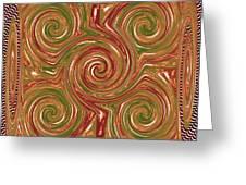Artistic Embossed Twirl Decoration Chakra Style Unique Signature Navinjoshi Artist Created Images Te Greeting Card