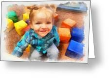 Ashby And Her Blocks Greeting Card