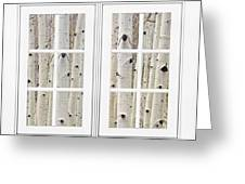Aspen Forest White Picture Window Frame View Greeting Card