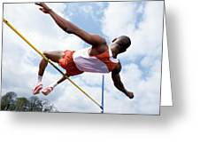 Athlete Performing A High Jump Greeting Card