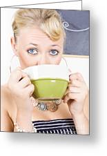 Attractive Blonde Woman Drinking Green Tea Greeting Card