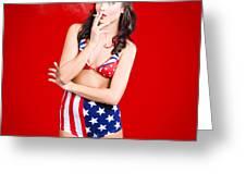 Attractive Usa Pinup Woman Smoking Greeting Card
