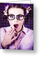 Attractive Young Nerd Girl With Surprised Look Greeting Card