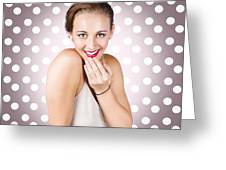Attractive Young Retro Girl With Look Of Surprise Greeting Card