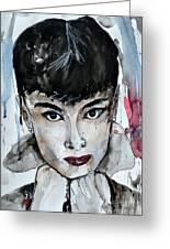 Audrey Hepburn - Abstract Art Greeting Card