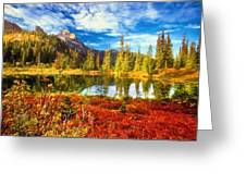 Autumn Comes To The Lake And Mountains Greeting Card
