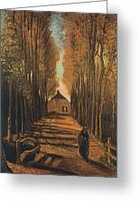 Avenue Of Poplars In Autumn Greeting Card