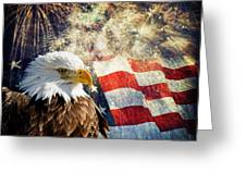 Bald Eagle And Fireworks Greeting Card by Michael Shake