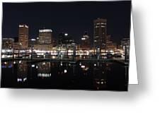 Baltimore Skyline At Night Greeting Card
