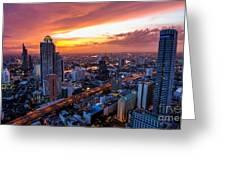Bangkok City Skyline Sunset Greeting Card
