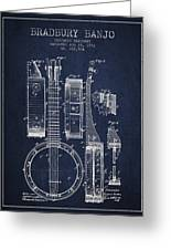 Banjo Patent Drawing From 1882 - Blue Greeting Card