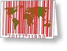 Bar Code With The World Map Greeting Card