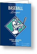 Baseball Hitter Batting Diamond Retro Greeting Card