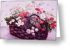 Basket Of Baby Roses Greeting Card