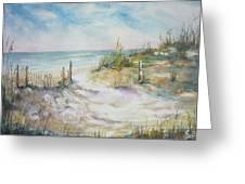 Beach Fence Greeting Card by Dorothy Herron