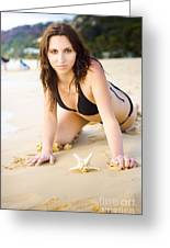 Beach Fun With A Gorgeous Brunette Greeting Card
