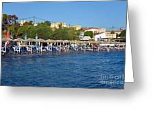 Beach In Aegina Town Greeting Card