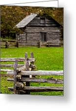 Beautiful Autumn Scene Showing Rustic Old Log Cabin Surrounded B Greeting Card