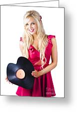 Beautiful Blonde With Heart-shaped Record Greeting Card